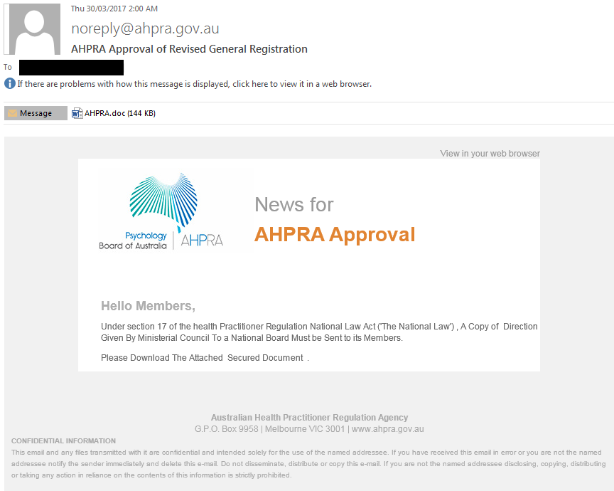 Scam email with convincing AHPRA branding but from a non-AHPRA email address (noreply@ahpra.gov.au)